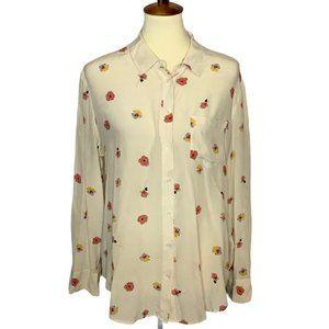 Madewell Silk Cream Floral Blouce